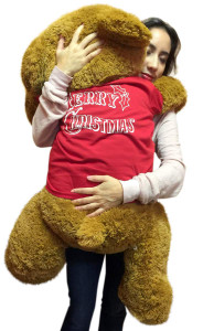 36-inch Big  Honey Brown Teddy Bear Wears Removable Red Tshirt that says Merry Christmas