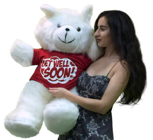 Get Well Soon Giant White Teddy Bear 3 ft Soft, Wears Removable T-shirt Get Well Soon