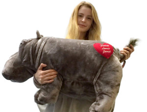 Custom Personalized Big Stuffed Hippopotamus 26 Inch Soft Hippo, Heart on Butt Imprinted with Your Message