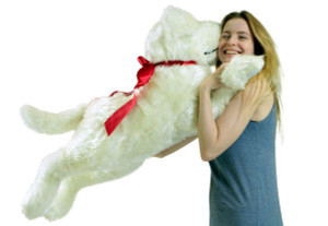 Big Plush American Made Giant Stuffed Dog, 42 Inch Soft  Cream Color Puppy Plushie