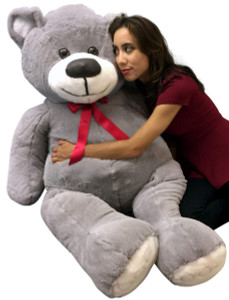 Big Plush Giant Gray 5 Foot Teddy Bear Soft Silver Color Large Stuffed Animal Made in USA