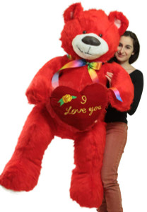 Life Size 5 Foot Red Teddy Bear with I Love You Heart Pillow, Big Plush Soft Stuffed Animal Made in USA