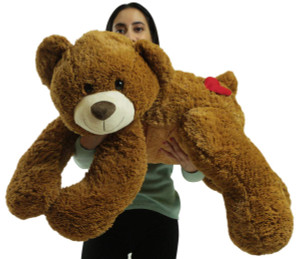 Giant 3 Foot Soft Valentine Teddy Bear with Heart on Butt to Express Love, Honey Brown Color Plushie