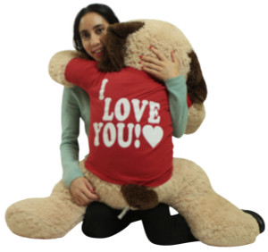 Big Plush Stuffed Dog Wears I Love You T-Shirt,  48 Inches Soft 4 Foot Giant Valentine Stuffed Animal