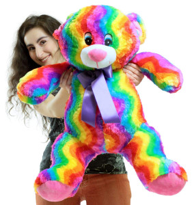 Big Plush Rainbow Teddy Bear 24 Inches Soft Multicolored Plushie Colorful Snuggle Buddy