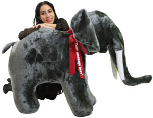 Personalized Giant Stuffed Elephant 48 Inch Soft American Made Big Plush Realistic Jungle Animal