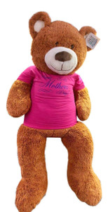 Big Plush for Mom, Soft 5 Foot Giant Teddy Bear, Wears Removable T-shirt HAPPY MOTHERS DAY, Honey Brown Color