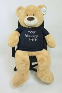 Personalized Big Plush 5 Foot Giant Teddy Bear Wearing Customized T-Shirt with Your Message