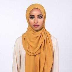 Mustard Chiffon Hijab Plain