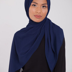 Navy Blue Chiffon Hijab