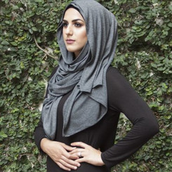 Plain Dark Grey Jersey Hijab