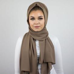 Taupe Plain Chiffon Hijab