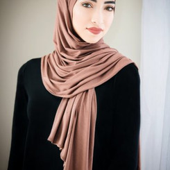 Plain Light Brown Jersey Hijab