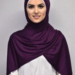 Plain Dark Purple Jersey Hijab