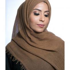 Taupe Ripple Hijab Unfinished edges  (Black, White, Navy Blue,different Grey's, different browns, pink, blue, Peach, )