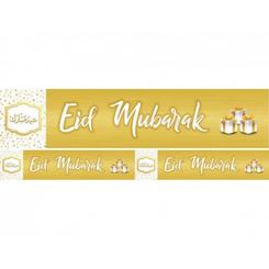 Eid Mubarak Banner (White and Gold)
