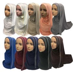 Women Plain Maxi MAXI COTTON-jERSEY Hijab Shawl Wrap Headband Turban Scarf