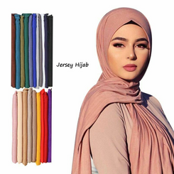 Fashion Modal Cotton Jersey Hijab Scarf Long Muslim Shawl Plain Soft Turban Tie