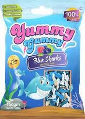 yummy gummy blue sharks candy 150g