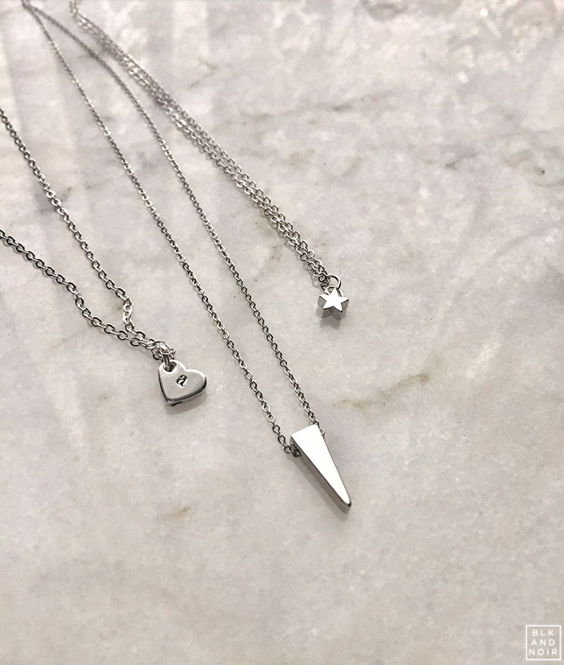 DAINTY SILVER NECKLACES BLKANDNOIR