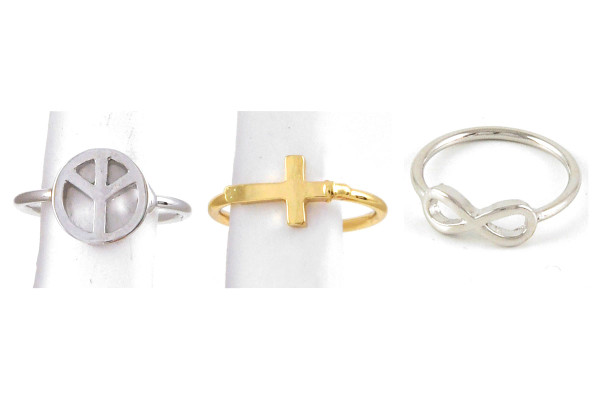 Peace symbol MIDI RING Gold cross MIDI RING Silver infinity MIDI RING