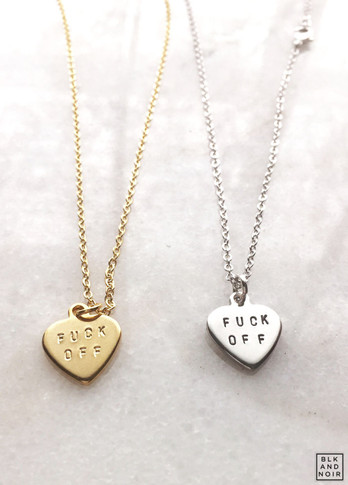 Fuck Off Heart Necklace in Gold and Silver