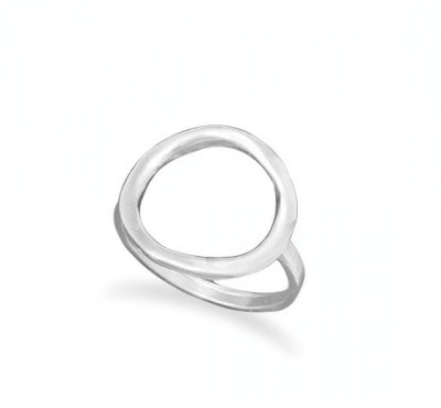 Sterling Silver Textured Open Circle Ring