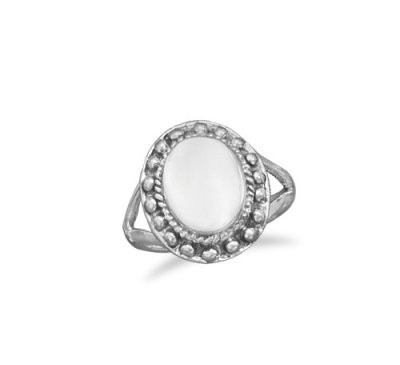 Sterling Silver Oval Bead Ring