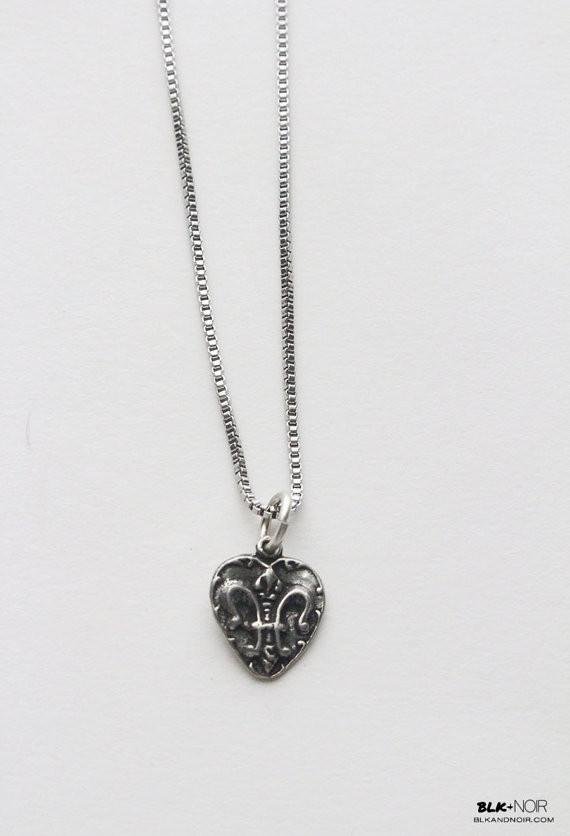 Fleur De Lis Heart Necklace