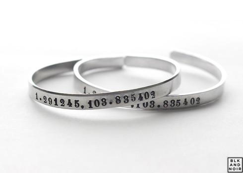 Coordinates Bracelets In Times Roman