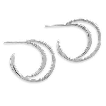 Crescent Design Polished 3/4 Hoop Earrings