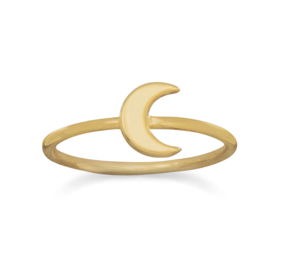 14 Karat Gold Plated Crescent Moon Ring