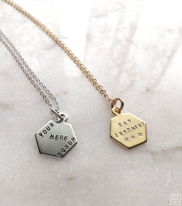 Hexagon Charm Necklace in Gold and Silver