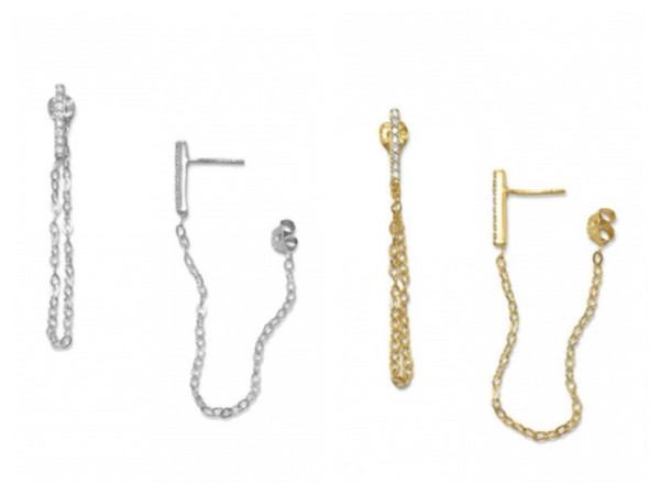 CZ Bar Connector Chain Bar Earrings silver gold