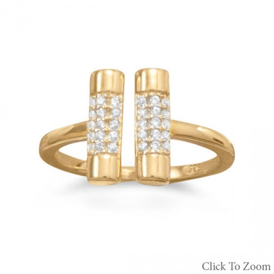 Gold Minimalist CZ Bar Ring