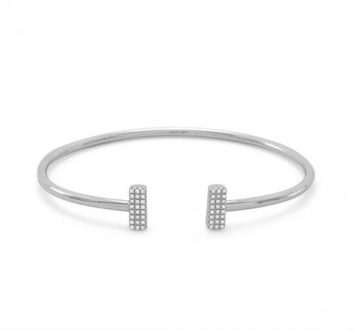 Sterling Bar Minimalist Bracelet with CZs
