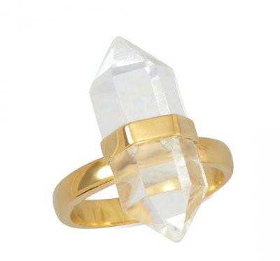 Gold Clear Quartz Ring