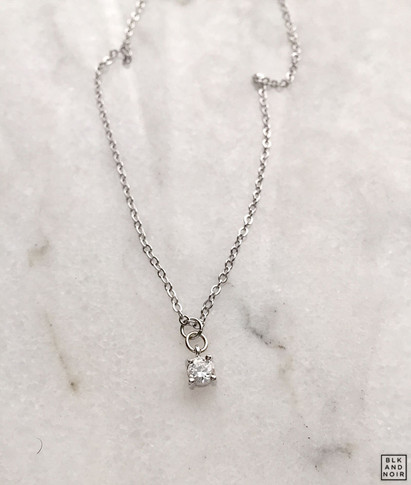 Tiny CZ Dot Charm Necklace