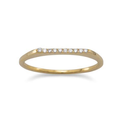Gold Flat Bar CZ Stacking Ring