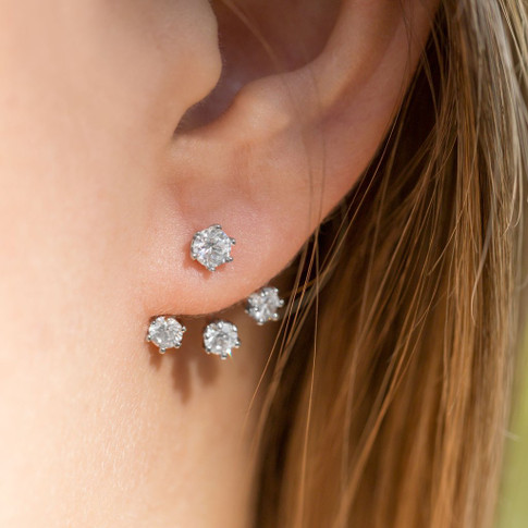 "Sterling Silver Front Back Triple CZ Earrings  . Silver ""Earring Jackets"" CZ Earrings"