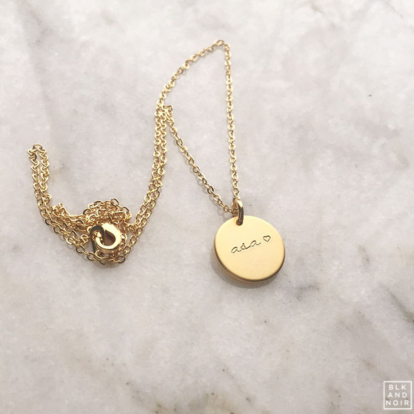 Custom circle charm necklace personalized coin necklace engraved personalized coin necklace aloadofball Gallery