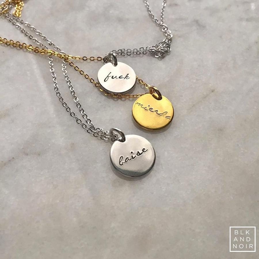 F*ck/Merde Circle Necklace