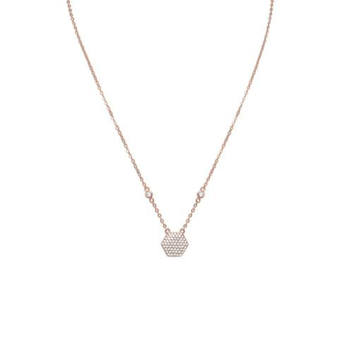 Rose Gold Hexagon Necklace with CZ