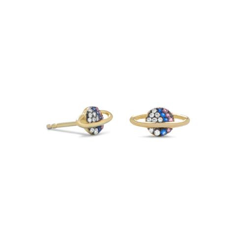 Saturn Gold Planets Earrings with CZ