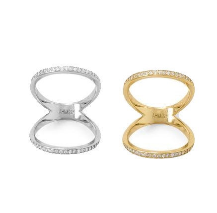 Double Band Knuckle CZ Ring