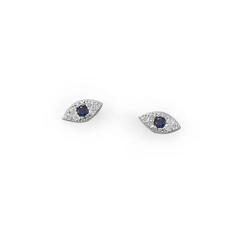 Blue Evil Eye CZ Stud Earrings  in Sterling Silver