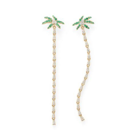 Palm Tree CZ Earrings