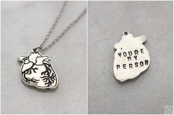 """You're My Person"" Silver Anatomical Human Heart Necklace with custom engraving"