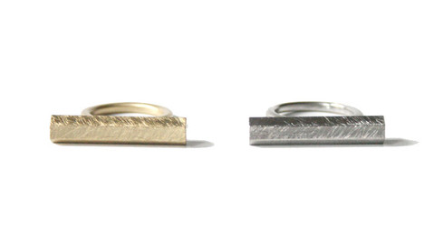 Minimalist Silver and Gold Bar Ring
