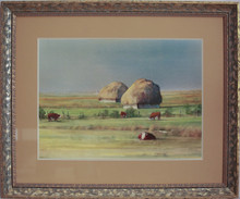 """Haystacks & Herefords"" watercolor by Jean Halverson"